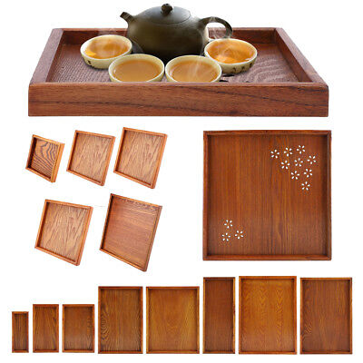 HOT Wood Serving Tray Food Tea Table Bamboo Tray Coffee Plate Rectangle/Square