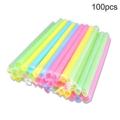 100pcs Disposable Drinking Straws Milkshake Plastic Bubble Tea Party HOT