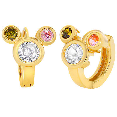 Gold Plated 18k Multi Colored Mouse Crystal Hoop Earrings for Teens or Girls 8mm - Coloring For Teens