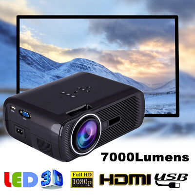 7000 Lumens 1080P HD LED Projector Mini 3D Home Theater Cinema HDMI USB VGA AV S