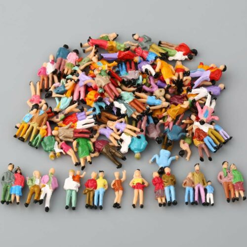 100pcs HO Scale 1:100 Mix Painted Model Train Park Passenger People Figures S1I4