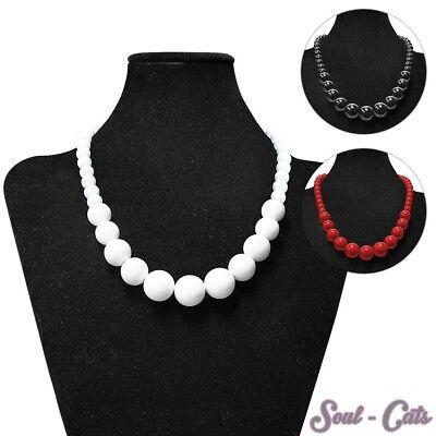 alskette Hals Ketten Acryl rot schwarz weiß 50cm  (Halskette Ketten)