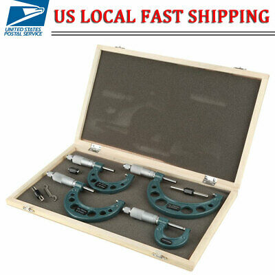 4 Pcs 0-100mm0.01mm 0-4 Outside Micrometer Set Machinist Tool Carbide With Box