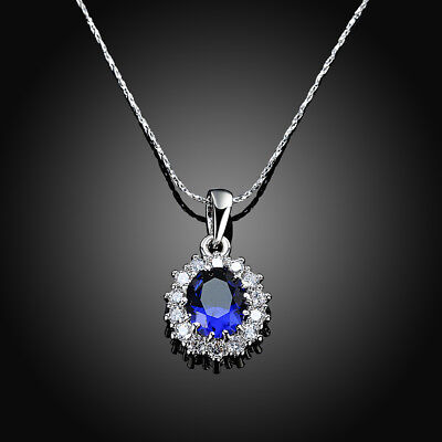 925 Sterling Silver Oval Blue Sapphire White Topaz Pendant 18