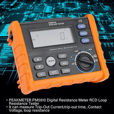 Peakmeter Pm5910 Digital Resistance Meter Rcdloop Resistance Tester Multimeter