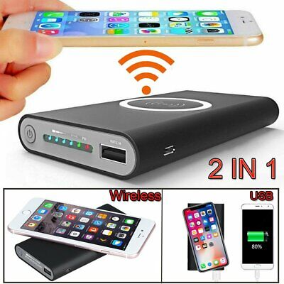 Qi Wireless Charger USB Power Bank 500000mAh For iPhone Samsung Mobile Phone UK