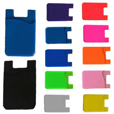 Adhesive Silicone Credit Card Pocket Sticker Pouch Holder Case For Cell Phone ##