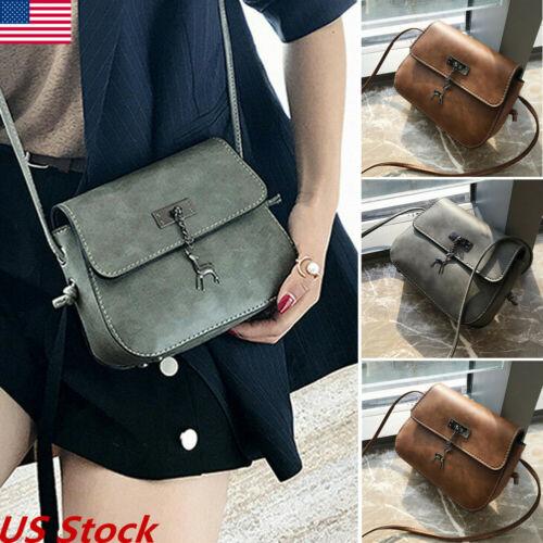 Women Retro PU Leather Small Handbag Satchel Messenger Cross