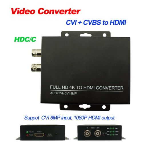 Video Converter 4K UHD 8MP CVI CVBS to HDMI 1080P output HD coaxial Output HDC/C
