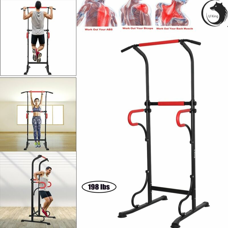 US Power Tower Dip Station Chin Pull Up Bar Workout Fitness Strength Training