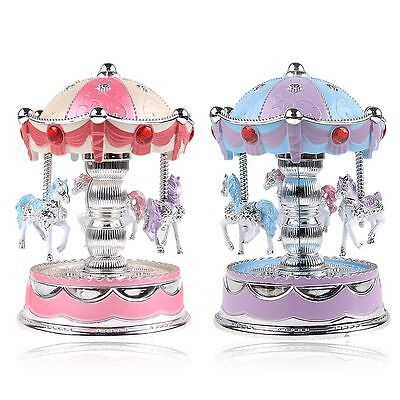 Vintage Horse Carousel Music Box Toy Light Clockwork Musical Birthday Gifts Pink