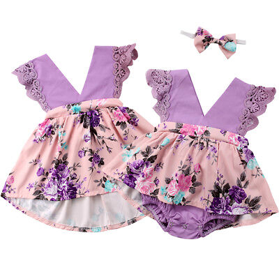 USA Big/Little Sister Matching Top Floral Newborn Baby Girl Romper Dress Outfit