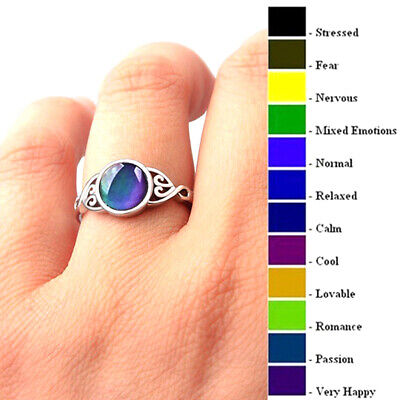 Magic Stone Mood Ring Adjustable Women Temperature Change Color Oval Jewelry Cha Mood Stone Rings