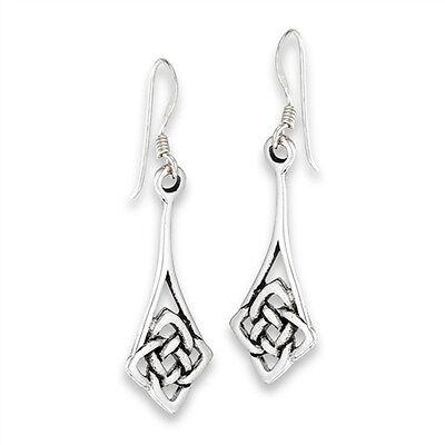 Interwoven Flower Celtic Knot Hook Sterling Silver Endless Drop Dangle Earrings Celtic Knot Drop Earrings