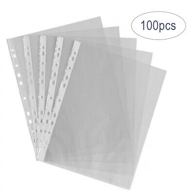 100 Pcs A4 Clear Plastic Punched Punch Pocket Folders Document Files Ring Binder