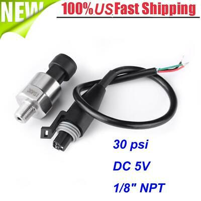 Stainless Steel Water Pressure Transducer Sender Sensor For Oil Fuel Gas 30psi