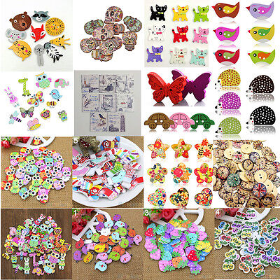 50x Mixed Animal 2 Holes Wooden Buttons Sewing Craft Scrapbooking DIY - Wood Butterfly
