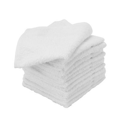 48 NEW WHITE 100% COTTON ECON HOTEL WASH CLOTHS 12X12 WASHCLOTHS HEAVY DUTY