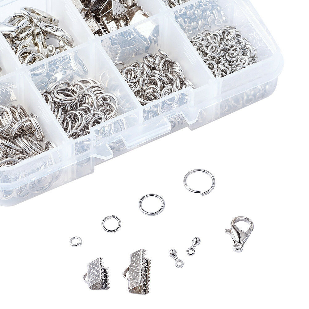 Outus 1104 Pieces Jewelry Findings Kit Lobsters Clasps and Jump Rings for Jewelry Making Multicolor A