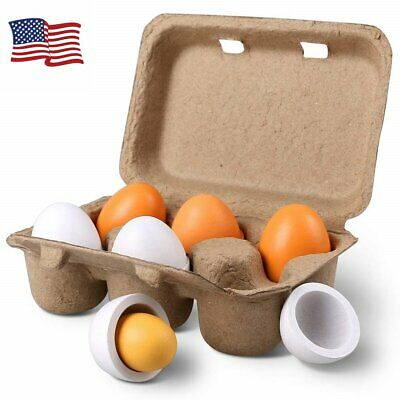 6pcs Set Wooden Eggs Yolk Pretend Play Kitchen Food Cooking Kids Toy Novel Gifts](Toy Eggs)