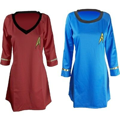 Star Trek TOS Uhura Half-sleeve Uniform Dress Red Blue Halloween Cosplay Costume - Star Trek Blue Dress