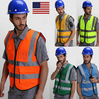 High Visibility Reflective Safety Vest Waistcoat Worker Road Construction Jacket