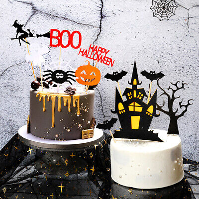 Halloween Birthday Cake Decorations ( Halloween Pumpkin Bat Cake Topper Cupcake Flag Kids Baby Happy Birthday)