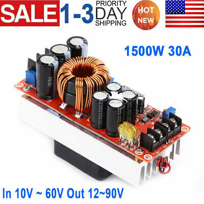 1500w 30a Dc-dc Boost Converter 10-60v To 12v-90v Step Up Power Supply Module Us