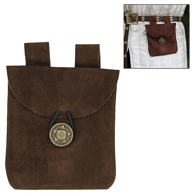 Leather Brown Medieval Suede Coin Belt Pouch