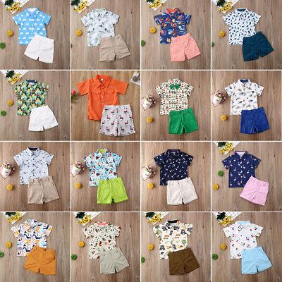 US 2Pcs Toddler Kids Baby Boy Clothes T Shirt Tops + Shorts Pants Summer Outfits