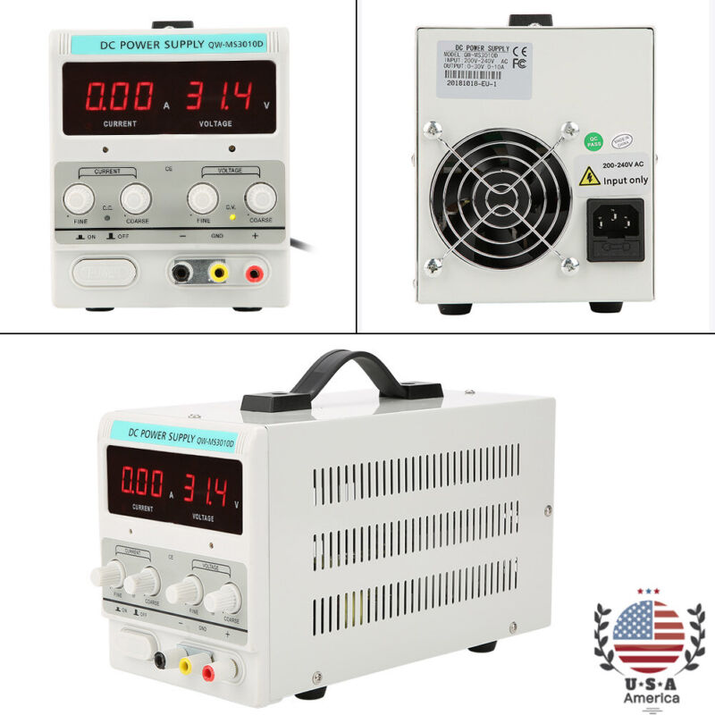 Digital DC Power Supply 30V 10A Variable Regulated Adjustable Lab Grade w/ Cable