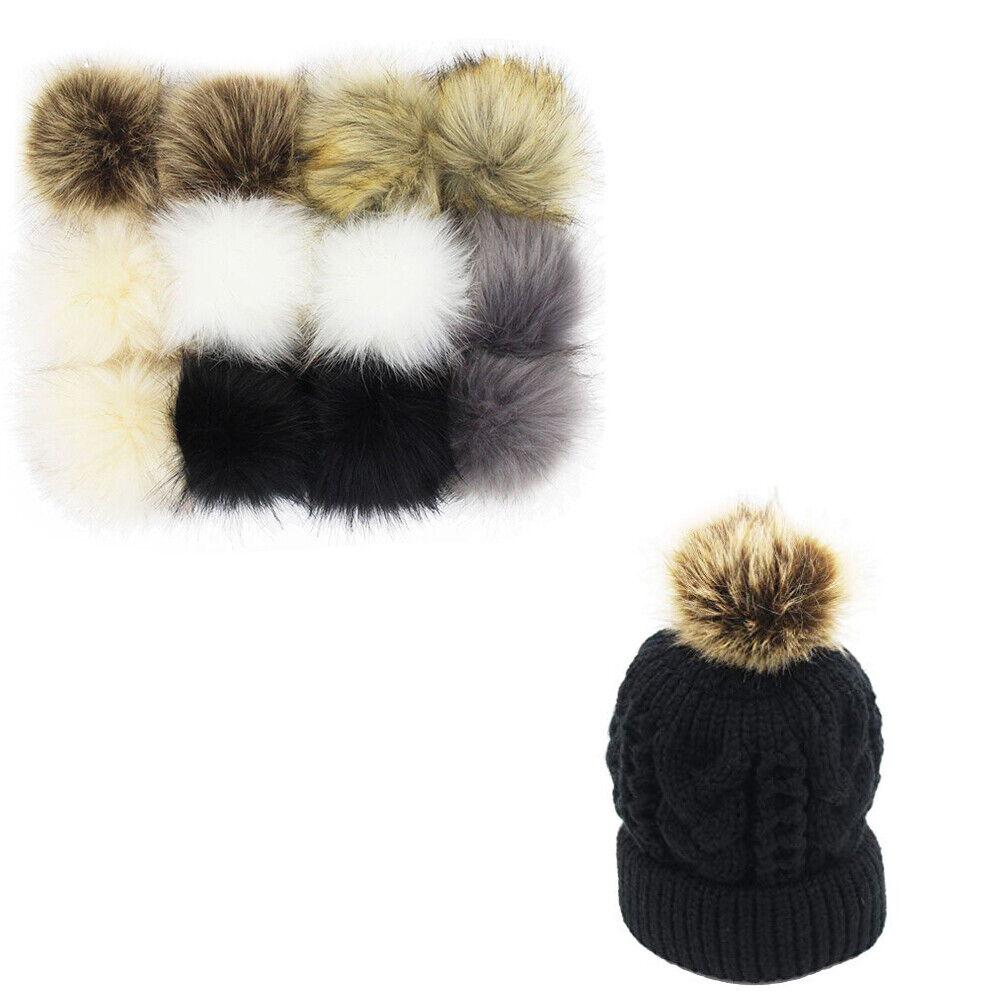 e4b9c1a2b Details about 12x Faux Fur Pom Pom Ball DIY Fur Pom Poms Beanie Hat Shoes  Scarf Bag Keychain