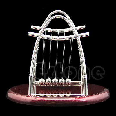 Newtons Cradle Balance Ball Physics Science Accessory Gift Fun Steel Desk Toy