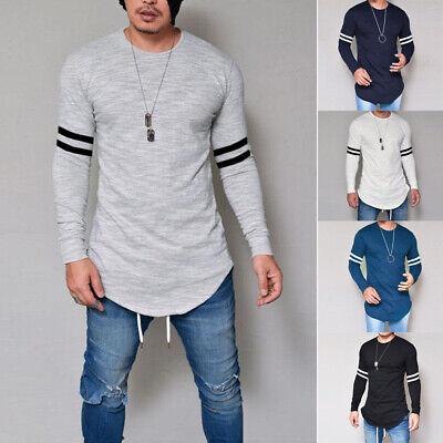 US Mens Stylish Solid Shirt Round Neck Cotton Long Sleeve Swag Curve Hem -
