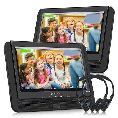 """2x 9"""" TFT LCD Tragbarer Auto Kopfstütze DVD Player USB AV-IN AKKU mit Kopfhörer"""