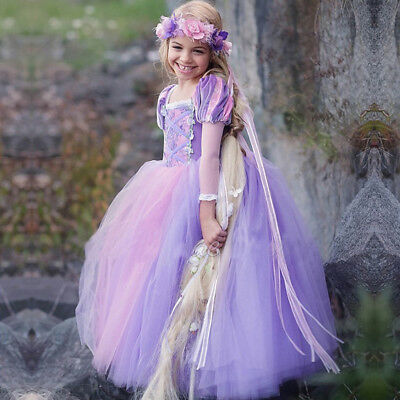 Kids Girls Princess Sofia Rapunzel Costume Cosplay Party Fancy Dress up Gown US