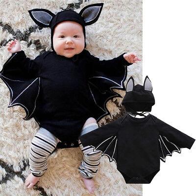 ay Kostüm Fledermaus Strampler Outfit Overall Jumpsuit +Hut (Fledermaus Baby Halloween Kostüm)