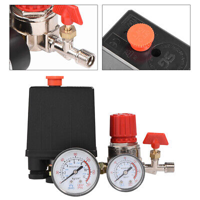 90-120psi Air Compressor Valve Manifold Gauges Regulator Pressure Control Switch
