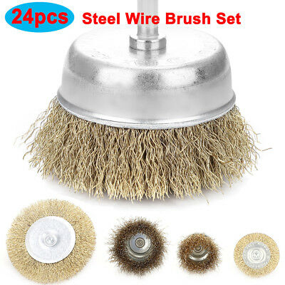 "4 PCS 3/"" Crimped Carbon Steel Wire Wheel Brush w// 1//4/"" Shank For Die Grinder"