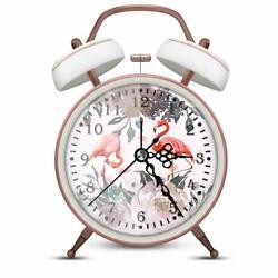 Analog Alarm Bedside Clock Metal Flamingo Country Classic Shabby Chic Farmhouse
