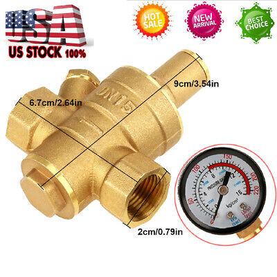 Npt 12 Brass Adjustable Water Pressure Regulator Reducer W Gauge Meter Dn15