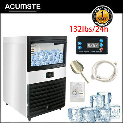 132lb24h 55kg Commercial Ice Maker Stainless Clear Cube Machine Undercounter Us