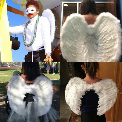 White Angel Feather Wings Cosplay Fancy Dress Costume Adults Kids Christmas
