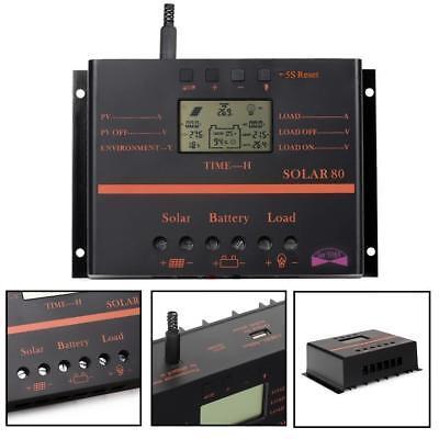 60A 80A Solar Laderegler Solarregler 12V 24V MPPT Batterie Regulator mit USB KS ()