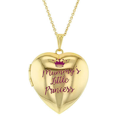 Mummy's Little Princess Crown Heart Photo Locket Pendant Necklace Girls 16