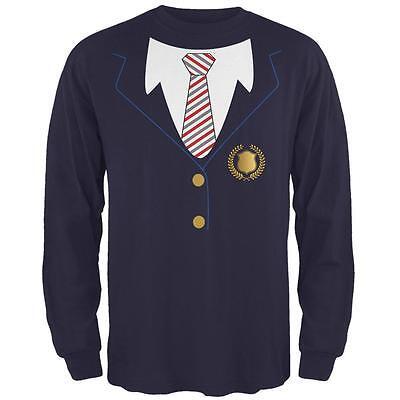 Halloween American School Girl Costume Mens Long Sleeve T Shirt](Halloween School Girl Shirt)