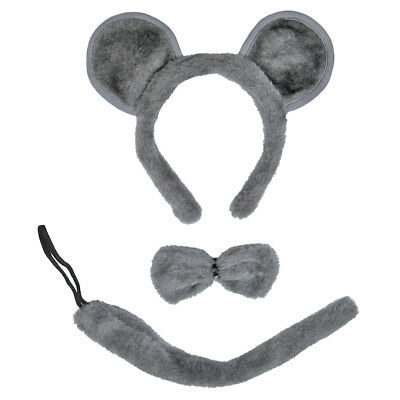 Gray Mouse Ears, Tail, & Bow Tie Costume Set ~ HALLOWEEN FUN DRESS UP PARTY KIT