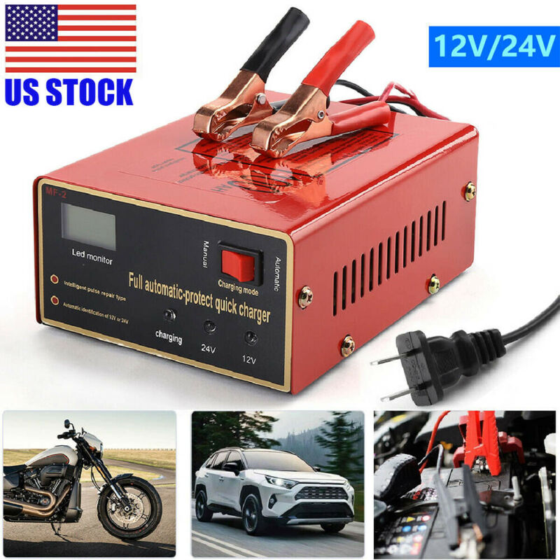 New Maintenance-free Battery Charger 12V/24V 10A 140W Output For Electric Car US