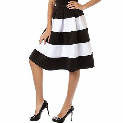Fashion Womens Elastic Band High Waist A-Line Stripe Skirt  Medium Size