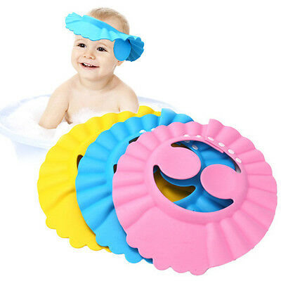 Funny Baby Kid Bath Shower Adjustable Hair Wash Cap Hat With Ear Protection  - Funny Hats With Hair